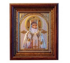Икона Лука Крымский - Греческая серебряная икона в рамке под стеклом с кристаллами Сваровски (EK39-187KZ)