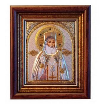 Ікона Лука Кримський - Грецька срібна ікона в рамці під склом з кристалами Сваровски (EK39-187KZ)