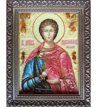 Икона Максимилиан Ефесский - Икона ручной работы из янтаря (ар-223)