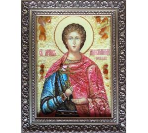 Ікона Максиміліан Ефесский - Ікона ручної роботи з бурштину (ар-223)
