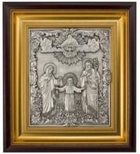 Ікона на подарунок, з сріблом Трьох радостей (Святе Сімейство) (k-02/1)