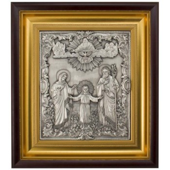 Икона на подарок, с серебром Трех радостей (Святое Семейство) (k-02/1)