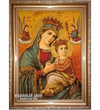 Икона Неустанной Помощи - Икона ручной работы из янтаря (ар-12)
