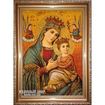 Ікона Неустанної Помочі - Ікона ручної роботи з бурштину (ар-12)