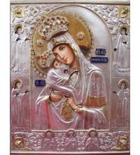 Икона Почаевская Пресвятая Богородица в серебряном окладе с камнями Сваровски (Гр-28)