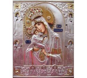 Почаївська ікона Пресвята Богородиця в срібному окладі з каменями Сваровськи (Гр-28)