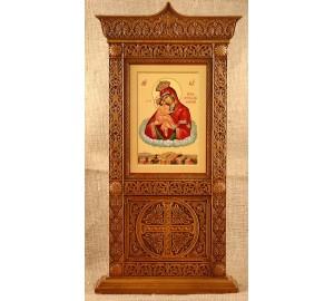 Икона Почаевской Богородицы - икона в настольном резном деревянном киоте (rev-104)