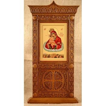 Икона Почаевской Богородицы, настольный киот купить