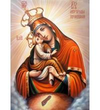 Икона Почаевской Божией Матери - чудесная писаная икона (Гр-02)