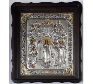 Икона Покров Пресвятой Богородицы - икона с серебром (хм-76)