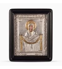 Икона Покров Пресвятой Богородицы - писаная икона, с серебром (хм-60)