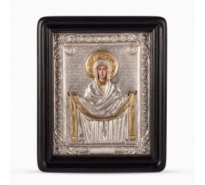 Ікона Покрова Пресвятої Богородиці - ікона писана, з сріблом (хм-60)