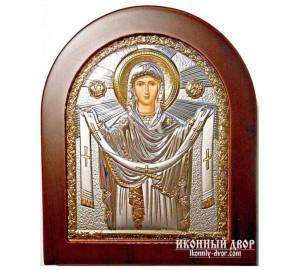 Ікона Покрови Пресвятої Богородиці - Ікона арочної форми з сріблом та позолотою (GOLD)