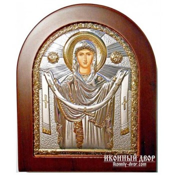 Икона Покрова Пресвятой Богородицы - Икона арочной формы с серебром и позолотой (GOLD)