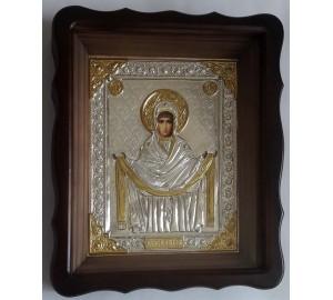 Икона Пресвятой Богородицы Покрова - икона с серебром (хм-64)