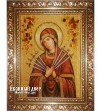 Икона Пресвятой Богородицы Семистрельная - икона ручной работы, из янтаря (ар-164)