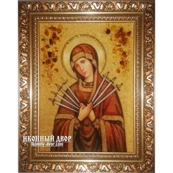 Ікона Пресвятої Богородиці Семистрільная - ікона ручної роботи, з бурштину (ар-164)