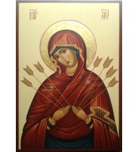 Икона Пресвятой Богородицы Семистрельная - писаная икона (Гр-69)