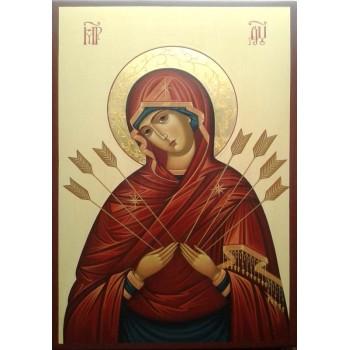Ікона Пресвятої Богородиці Семистрельная - ікона писана (Гр-69)