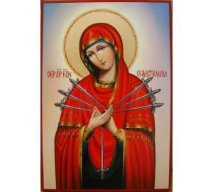 Икона Пресвятой Богородицы Семистрельная - писаная икона (Гр-81)