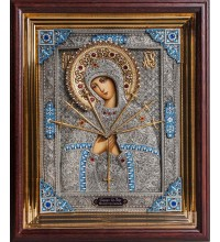 Икона Пресвятой Богородицы Семистрельная - писаная икона с серебром (юл/гр-56)