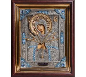 Ікона Пресвятої Богородиці Семистрельная - ікона писана з сріблом (юо/гр-56)