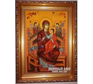 Ікона Пресвятої Богородиці Всецариця - Ікона ручної роботи з бурштину (ар-132)