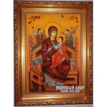 Икона Пресвятой Богородицы Всецарица - Икона ручной работы из янтаря (ар-132)
