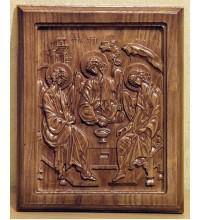 Ікона прямокутної форми з натурального дерева Свята Трійця під дерев'яний інтер'єр (ДВ-10)