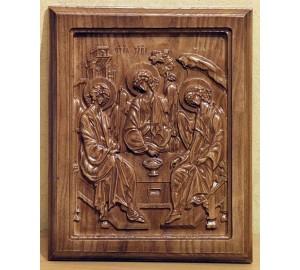Икона прямоугольной формы из натурального дерева Святая Троица под деревянный интерьер (ДВ-10)