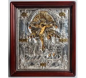 Икона Распятие Иисуса Христа - Писаная икона в серебряном окладе (хм-10)