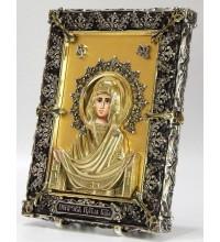 Икона с серебром и сусальным золотом Покров Божьей Матери (Ос-П33С)