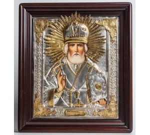 Икона с серебром на подарок Святитель Николай Чудотворец (хм-30)