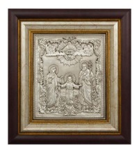 Икона с серебром Святое Семейство (Икона Трех радостей) (k-02)