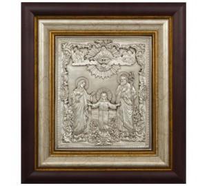 Ікона з сріблом Святе Сімейство (Ікона Трьох радостей) (k-02)
