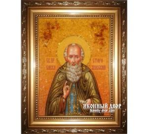 Икона Савва Сторожевский -  ручная работа из янтаря (ар-126)