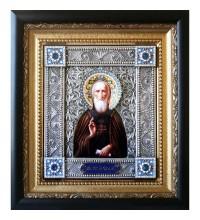 Икона Сергий Радонежский - именная икона с серебром (юл-33)