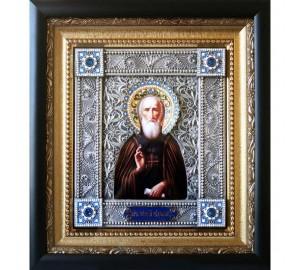 Ікона Сергій Радонежський - іменна ікона з сріблом (юл-33)