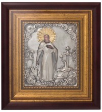Икона Сергий Радонежский - Шикарная икона с серебром и позолотой (СФ-СР-01) (СФ-СР-01)