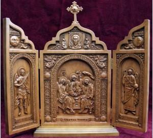 Ікона-складень з натурального дерева Свята Трійця (ск-04)
