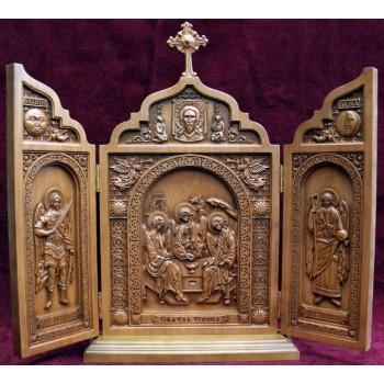 Икона-складень из натурального дерева Святая Троица (ск-04)