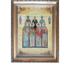 Икона Собор семи мучеников Маккавеевских  -икона из янтаря (ар-236)