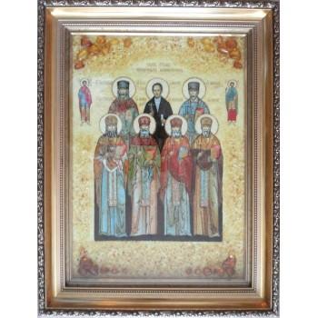 Ікона Собор семи мучеників Маккавеевских -ікона з янтаря (ар-236)