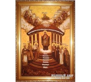 ИКОНА СОФИИ, ПРЕМУДРОСТИ БОЖИЕЙ - Янтарная икона ручной работы (арс-4)