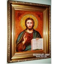 Ікона Спаситель Вседержитель - Ікона ручної роботи з бурштину (арп-1)