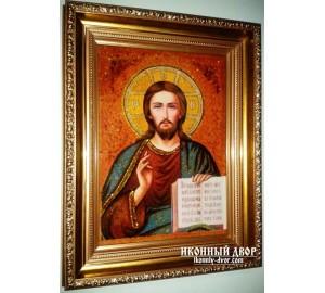 Икона Спаситель Вседержитель - Икона ручной работы из янтаря (арп-1)