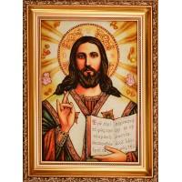 Икона Спасителя - Икона ручной работы из янтаря (арп-2)