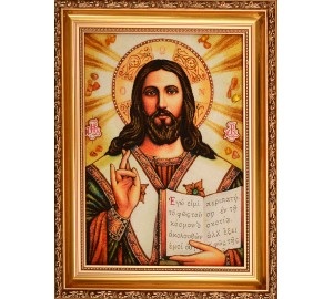 Ікона Спасителя - Ікона ручної роботи з бурштину (арп-2)