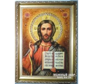 Икона Спасителя - красивая янтарная икона (арп-3)