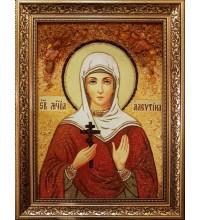 Икона святая Алевтина Кесарийская - икона из янтаря (ар-382)